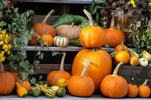 A Stack Of Pumpkins With Gourd...