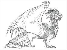 Dragon Coloring Page. Vector Illustration. Dragon Drawing Coloring Sheet.