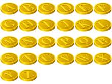 A~Zのアルファベット26文字のコイン