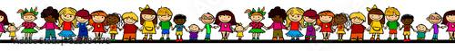 Fototapeta A set of drawings of children. Seamless pattern kids. Friendship. Vector illustration obraz