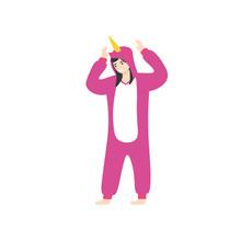 Beautiful Happy Girl Wearing Pajama Kigurumi. Flat Vector Cartoon Illustration.