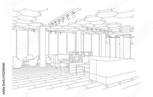 Foto Outline sketch of a modern cafe with sofa and tables