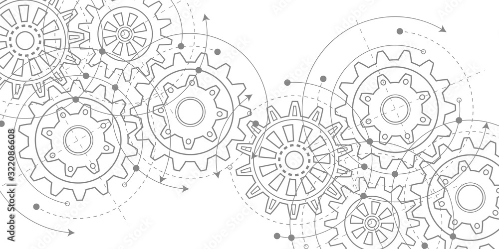 Fototapeta Technical drawing of gears .Rotating mechanism of round parts .Machine technology. Vector illustration.