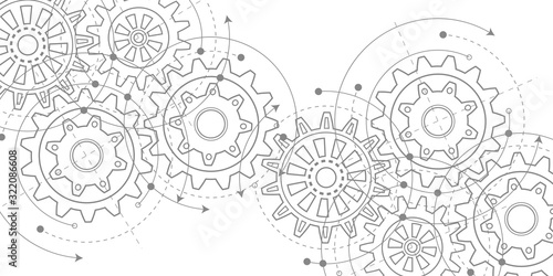 Obraz Technical drawing of gears .Rotating mechanism of round parts .Machine technology. Vector illustration. - fototapety do salonu