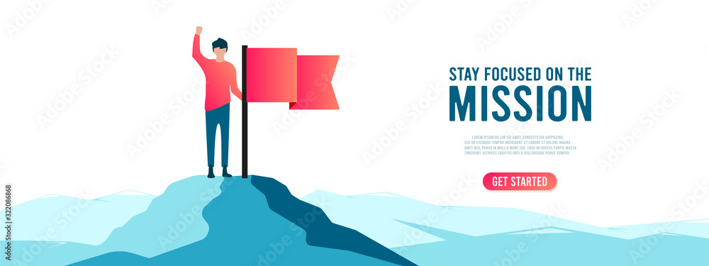 Fototapeta Man with red flag on mountain peak. Businessman and financial success, goal achievement vector concept