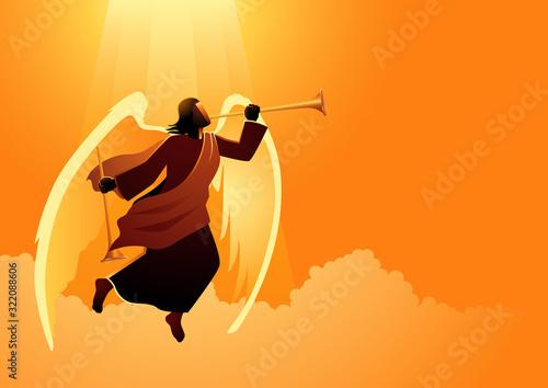 Angel blowing trumpet Fototapet