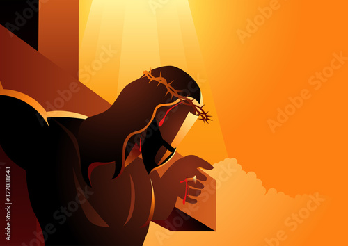 Fotografia Jesus on the cross wearing a crown of thorns