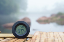 Air Thermometer And Hygrometer Or Humidity On 15 Degrees Temperature To Cool On Wooden Carriage And River Or Stream With Tree In Green Jungle For Summer Or Winter Holiday Relax And Vacation Travel