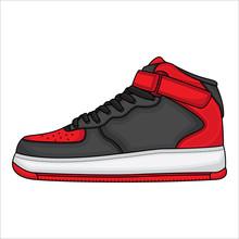Red Basketball Shoe Vector Design