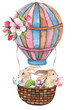 Watercolor Easter composition with Easter bunnies, eggs, basket, balloon, car, flags, delicate pink Apple blossoms, branches, leaves and twigs