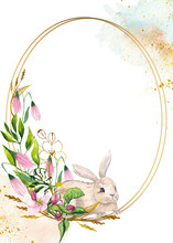 Watercolor Easter Golden Frames With  Easter Bunnies, Eggs, Delicate Pink Apple Blossoms, Branches, Leaves And Twigs