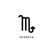 Zodiac Scorpio Line Sign. Astrology Icon Isolated On White Background, Outline Symbol Astrological Horoscope. Vector Illustration Of Scorpio Zodiac Design Editable Stroke