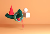 Abstract still life installation, colorful geometric shapes