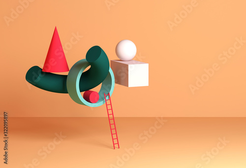 Abstract still life installation, colorful geometric shapes - 322095897