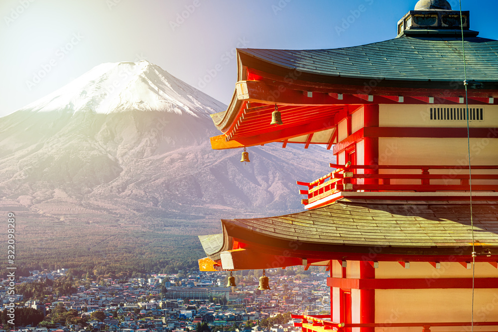 Fototapeta Sunrise of Fuji mountain and red Pagoda at dawn, Japan