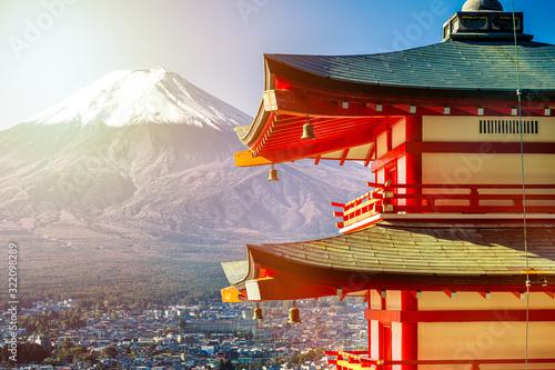 Fototapeta Sunrise of Fuji mountain and red Pagoda at dawn, Japan obraz