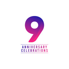 9 Years Anniversary Celebrations Vector Template Design Illustration