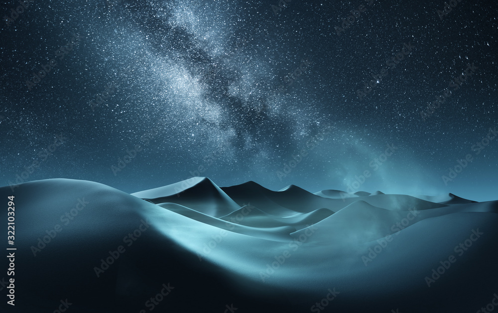 Fototapeta Rolling sand dunes at night with the milky way banding across the sky. Mixed media illustration.