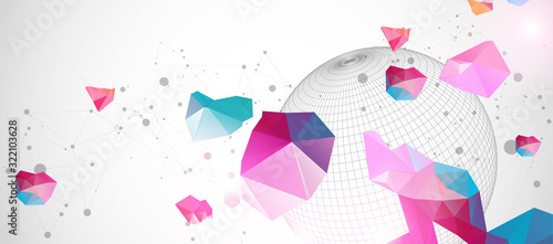 Cuadros en Lienzo Abstract sphere background with plexus effect. 3D surface.