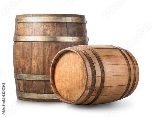 Stampa su Tela Two wooden barrels