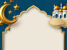 Ramadan Kareem Vector Card With 3d Golden Metal Crescent, Hanging Stars, Paper Cut Clouds, Mosque. Arabic Style Arch With Traditional Pattern. Copy Space.