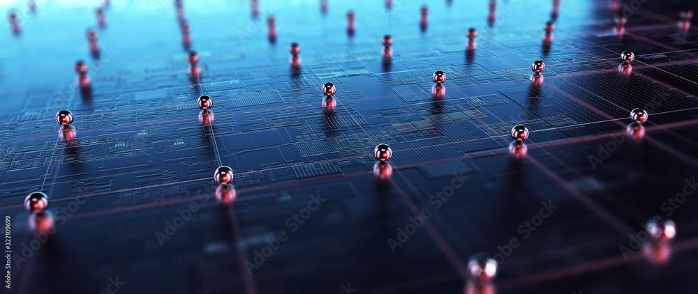 Fototapeta Block chain network. 3D Rendering