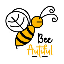 Cute Yellow Bee And Hooney Logo. Illustration Vector