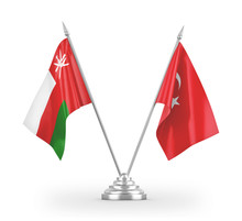 Turkey And Oman Table Flags Isolated On White 3D Rendering