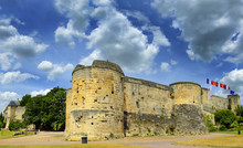 Castle Walls Of Caen Castle - 1060, William Of Normandy Established A New Stronghold In Caen. Norman Town Of Caen In The Calvados Departement In Normandy, France