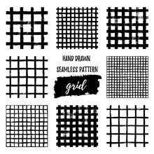 Set Of Grunge Grid Seamless Patterns. Abstract Plaid Texture Hand Drawn With A Ink Brush Strokes. Vector Monochrome Scandinavian Background In A Simple Style For Print On Textiles, Wallpaper, T-shirts