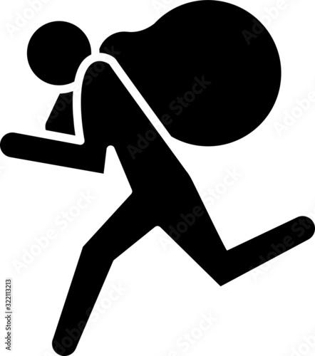 Fotografia theft icon, vector line illustration