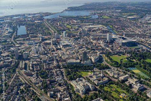 Fototapeta Helicopter aerial of Cardiff City Centre obraz