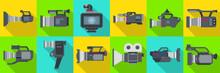 Video Camera Flat Vector Illus...