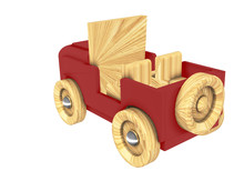 Toy Car Wooden 3D Rendering Of...