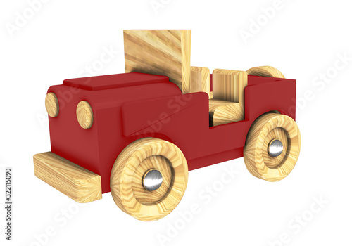 toy car wooden 3D rendering of a red all-terrain vehicle on a white background isolated