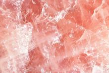 Isolated Macro Of Large Semi Precious Gemstone Rose Quartz Showing Matrix And Texture