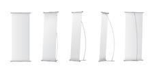 Indoor Blank L-Stand Banner For Design Presentation. Vector Illustration On White Background