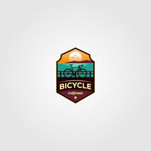 Bicycle Beach Trip Logo Vector Illustration Design