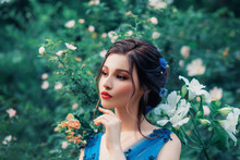 Beautiful Girl Evening Makeup Red Lips Dark Brown Cat Eyes. Backdrop Flowers Rose Lily. Forest Bright Day. Blue Dress. Elegant Hairstyle Cornflowers Hair. Summer Spring. Holiday Party Event Ball Art