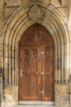 Old Arched Door In A Medieval ...