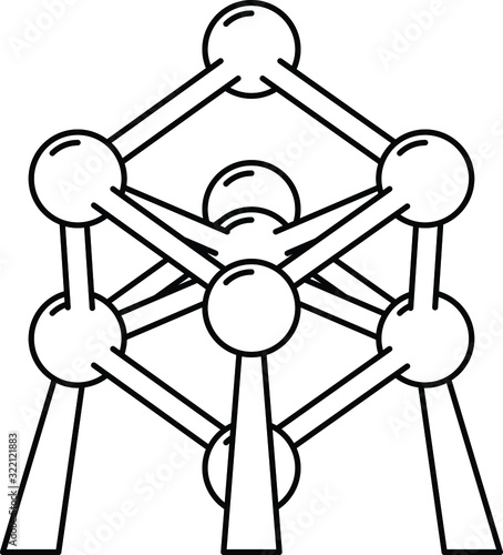 atomium icon, vector line illustration Wallpaper Mural