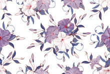 Seamless Pattern With Petunia ...