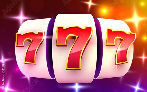 Tela Slot machine wins the jackpot. 777 Big win casino concept.