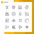 16 Icon Set. Line Style Icon Pack. Outline Symbols isolated on White Backgound for Responsive Website Designing.