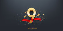 9th Year Anniversary Celebration Background. 3D Golden Number Wrapped With Red Ribbon And Confetti On Black Background.