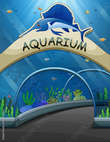 Fototapeta Big aquarium entrance with lives underwater illustration obraz