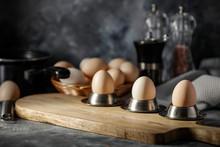 Easter Eggs On Dark Mood Backg...