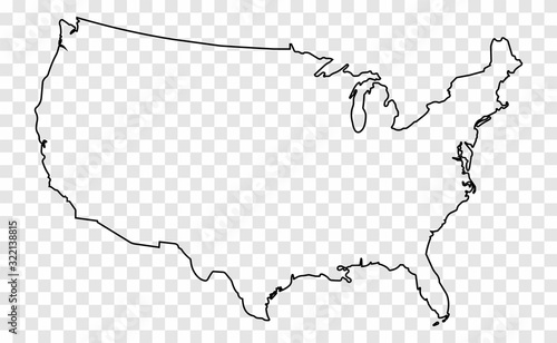 Obraz Map of the USA. Map of the United States of America. Transparent card in a flat style on an isolated background. - fototapety do salonu