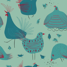 Seamless Pattern With Chickens...