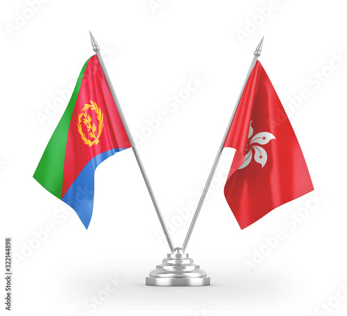 Hong Kong and Eritrea table flags isolated on white 3D rendering Canvas Print